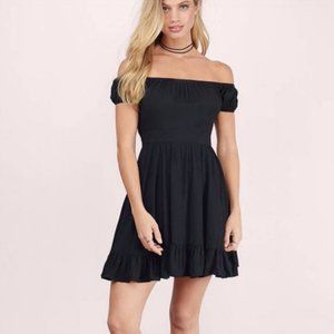 Off-Shoulder Ruffled Open Back Skater Dress